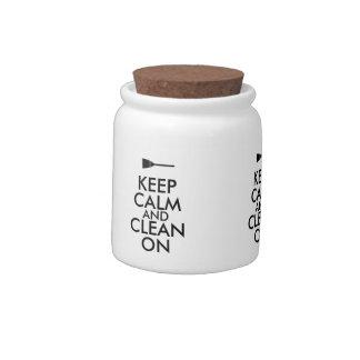 Keep Calm and Clean On Broom Custom Candy Dish