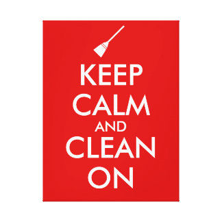 Keep Calm and Clean On Broom Custom Stretched Canvas Print