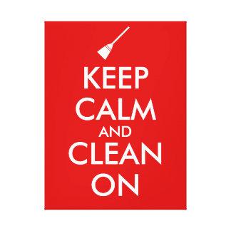 Keep Calm and Clean On Broom Custom Canvas Print