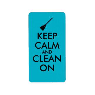 Keep Calm and Clean On Broom Custom Label
