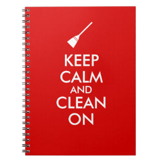 Keep Calm and Clean On Broom Custom Notebook