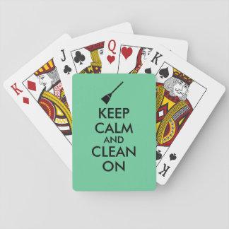 Keep Calm and Clean On Broom Custom Poker Deck