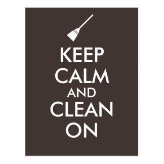 Keep Calm and Clean On Broom Custom Postcard