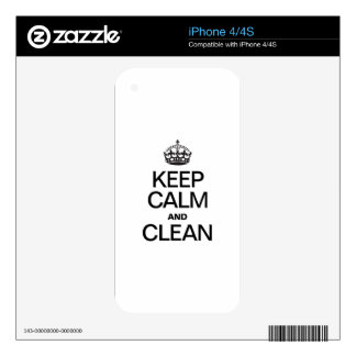 KEEP CALM AND CLEAN DECALS FOR THE iPhone 4