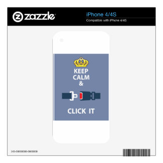 Keep Calm and Click It Skin For iPhone 4S