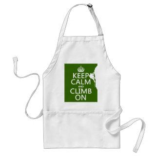 Keep Calm and Climb On (customizable color) Apron