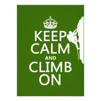Keep Calm and Climb On customizable color Custom Announcements