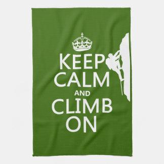 Keep Calm and Climb On (customizable color) Towel