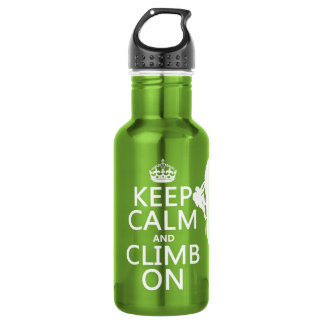 Keep Calm and Climb On (customizable color) Water Bottle