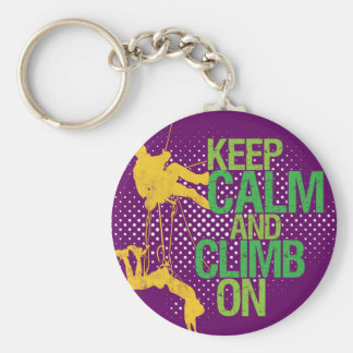 Keep Calm and Climb On Rock Climbers Keychain