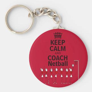 Keep Calm and Coach Netball Design Keychain