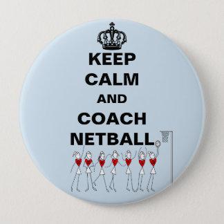 Keep Calm and Coach Netball Theme Pinback Button