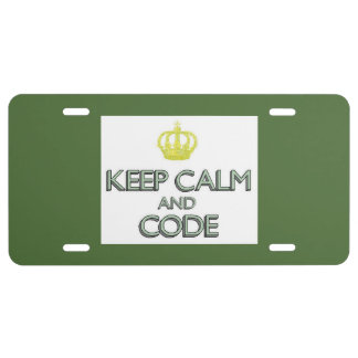 Keep Calm and Code License Plate
