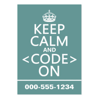 Keep Calm and <Code> On - all colours Business Card Template