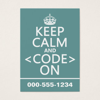 Keep Calm and <Code> On - all colours Business Card