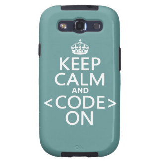 Keep Calm and <Code> On - all colours Samsung Galaxy S3 Cover