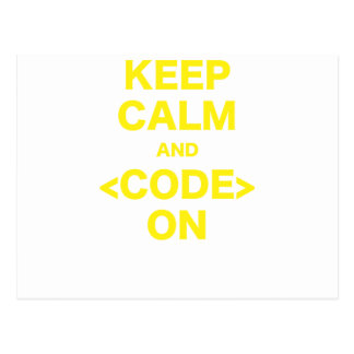 Keep Calm and Code On Postcard