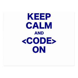 Keep Calm and Code On Postcard
