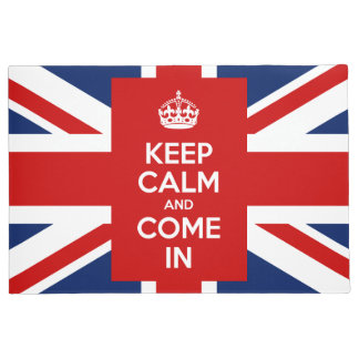 Keep Calm and Come in with UK Flag Union Jack Doormat