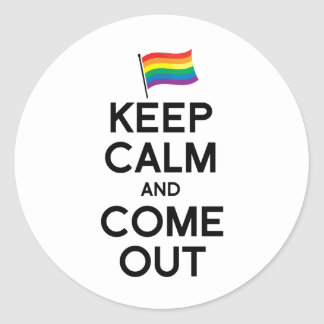 KEEP CALM AND COME OUT CLASSIC ROUND STICKER