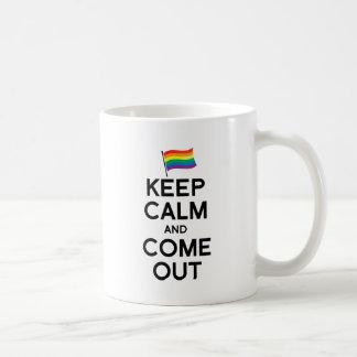 KEEP CALM AND COME OUT CLASSIC WHITE COFFEE MUG