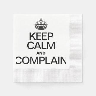 KEEP CALM AND COMPLAIN COINED COCKTAIL NAPKIN