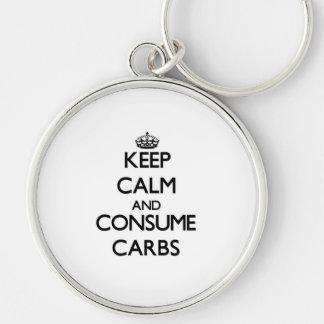 Keep calm and consume Carbs Key Chain