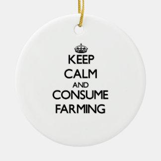 Keep calm and consume Farming Christmas Ornament