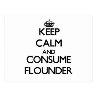 Keep calm and consume Flounder Postcards