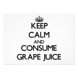 Keep calm and consume Grape Juice Personalized Invitation