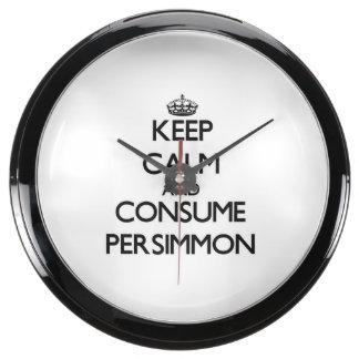 Keep calm and consume Persimmon Aquavista Clocks