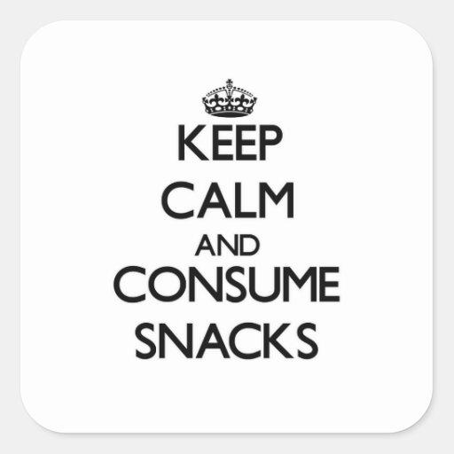 Keep calm and consume Snacks Square Sticker