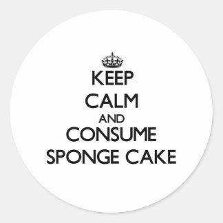 Keep calm and consume Sponge Cake Round Sticker