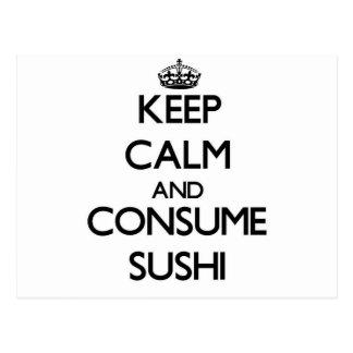 Keep calm and consume Sushi Postcard