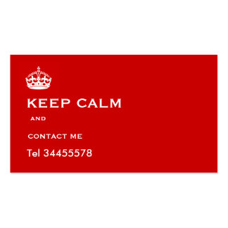keep calm and contact me business card