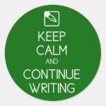 Keep Calm and Continue Writing Sticker Round Sticker