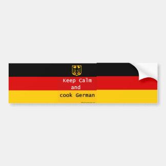 Keep Calm and Cook German Bumpersticker Bumper Sticker