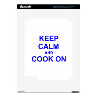 Keep Calm and Cook On black gray blue Skins For iPad 3