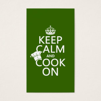 Keep Calm and Cook On (customizable colors) Business Card
