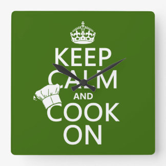 Keep Calm and Cook On customizable colors Square Wall Clock