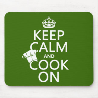 Keep Calm and Cook On (customizable colors) Mouse Pads