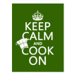 Keep Calm and Cook On (customizable colors) Postcard