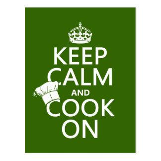 Keep Calm and Cook On Postcard