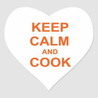 Keep Calm and Cook orange red pink Heart Sticker