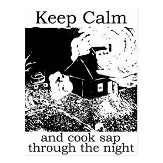 Keep calm and cook sap through the night postcard