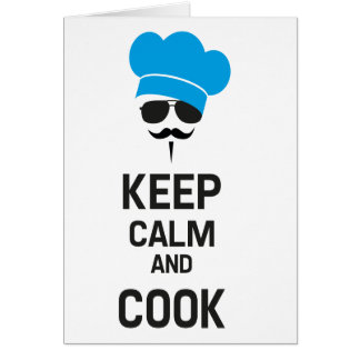 Keep calm and cook with mustache card
