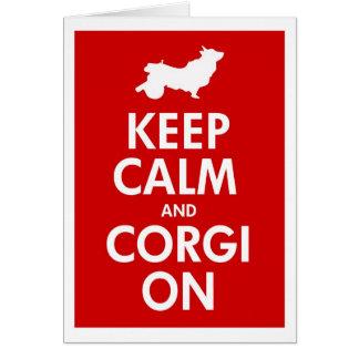 Keep Calm and Corgi On Cart/Wheeled Corgi Cards