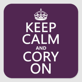 Keep Calm and Cory On (any background color) Square Stickers