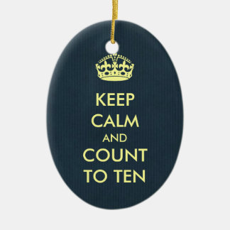 Keep Calm and Count to Ten Grey Blue Kraft Paper Ceramic Ornament