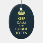 Keep Calm and Count to Ten Grey Blue Kraft Paper Double-Sided Oval Ceramic Christmas Ornament